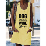Dog Mather Wine Love's Crew Neck Women Dresses Shift Cotton-Blend Dresses