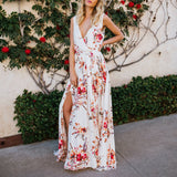 Deep V-Neck Floral Printed Sleeveless Dress