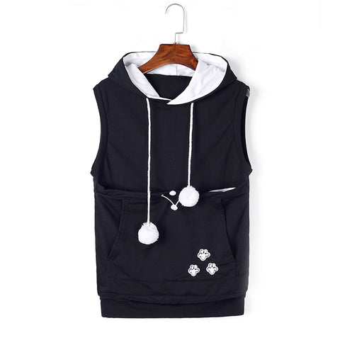Plush Women Large Pocket Pet Bag Vest Hoodie