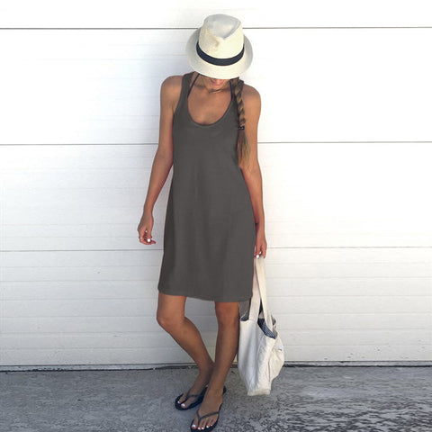 Solid Color Sleeveless Vest Dress