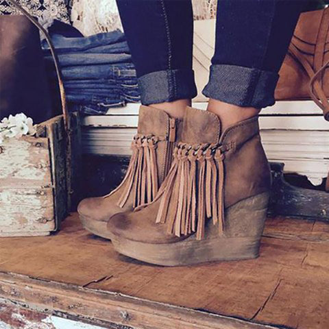 Plus Size Women's Tassel Wedge Boots