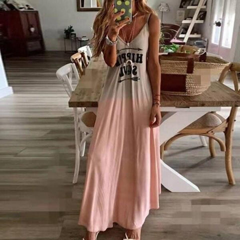 Women's Fashion Summer V-neck Sleeveless Letter Printing Sling Dress