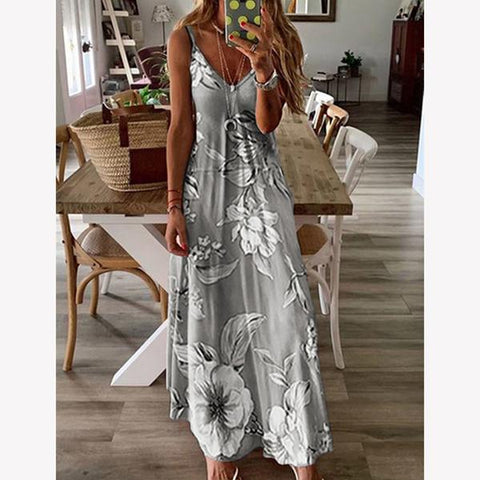 New Summer Women Sleeveless Flower Print Dresses
