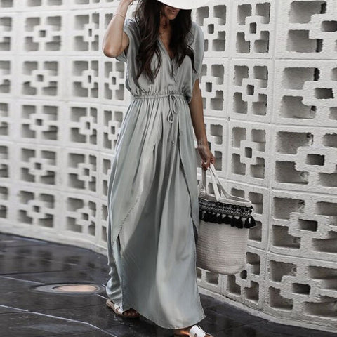 Fashion Gray Short Sleeves Maxi Dress Vintage Dress