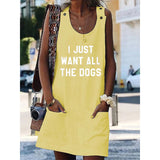 I Just Want All The Dogs Crew Neck Women Dresses Shift Cotton-Blend Dresses