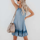 Fashionable Loose Denim Halter Dress