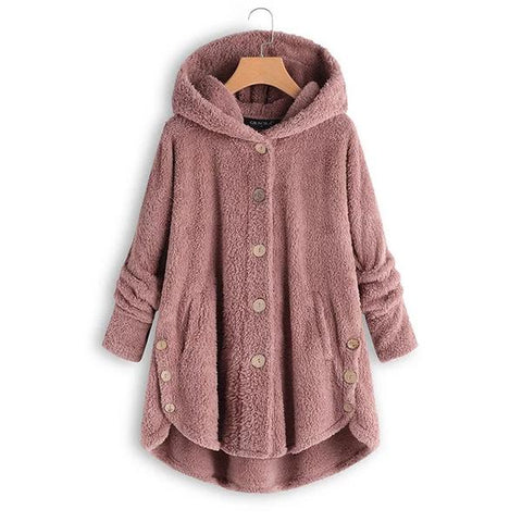 Women's Fall Long Sleeve Fleece Hooded Fuzzy Asymmetrical Hem Button Coat