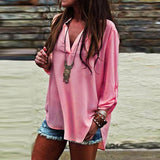 V Neck Side Slit Plain Blouses