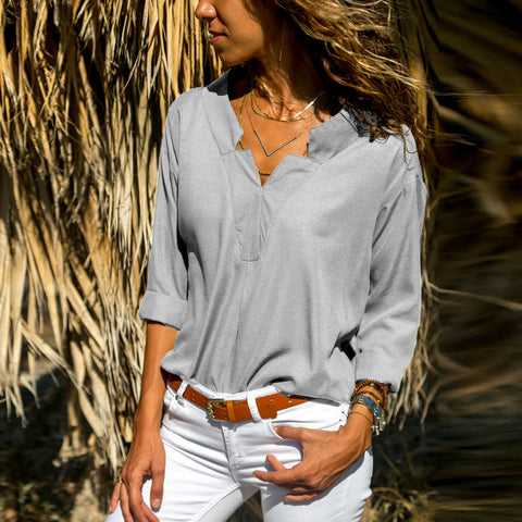 Casual Solid Color V-Neck Long-Sleeved Blouse