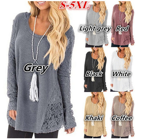 Plus Size Lace Stitching Long Sleeve Solid Color Round Neck Sweater
