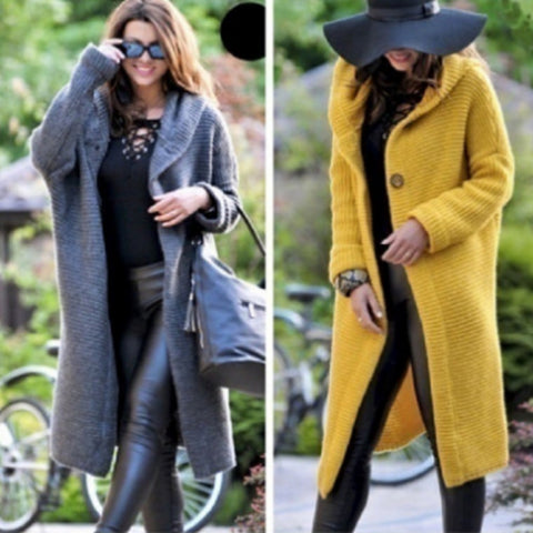 Winter Women Solid Color Hooded Long Coat