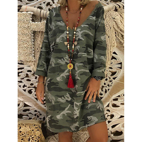 Cotton Long Sleeve Casual Dresses