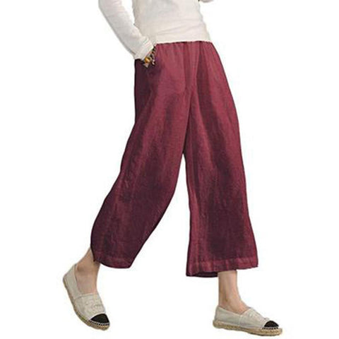 Women's Casual Elastic Waist Cropped Wide Leg Flared Pants