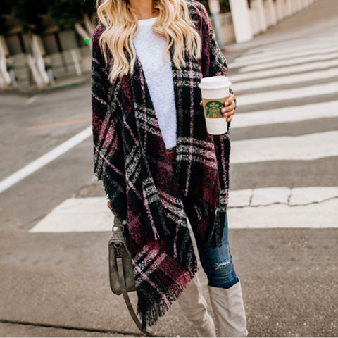 Women Cardigan Color Plaid Tassel Shawl