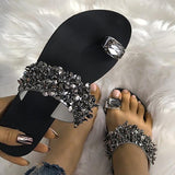 Womens Faux Rhinestone Toe Ring Flat Sandals