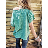 Short Sleeve Mid-Length Off Shoulder Casual Loose T-Shirt