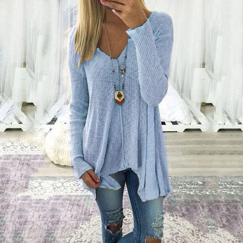 V Neck Asymmetric Hem Plain Sweatershirt