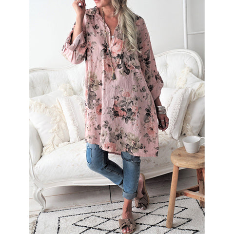 Casual Floral Printed Long Sleeve Shirt Collar Blouse
