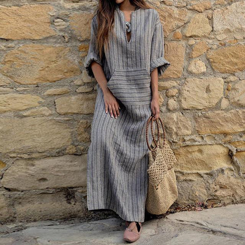 Women Oversized Retro Casual Loose Long Maxi Dresses Striped Long Sleeve Ankle Length Dress
