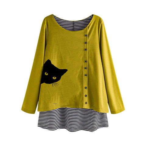 Peeking Cat Fake Two-piece Striped Plus Size Autumn Women's Sweatshirts