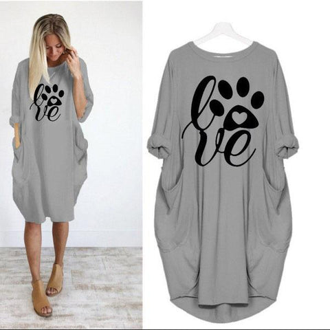 Love Printing Casual Loose Women's Autumn Plus Size Dress