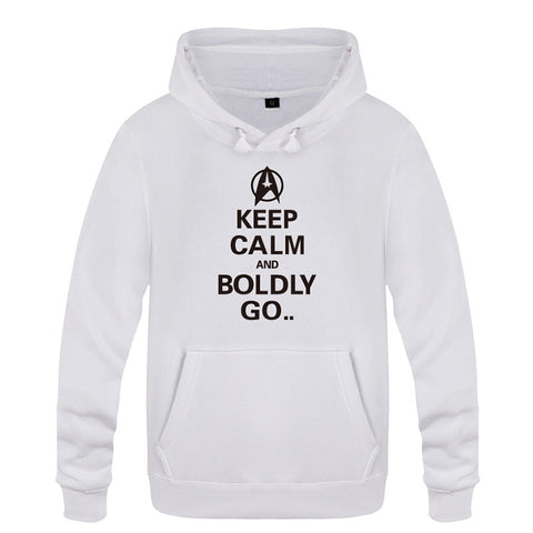 Keep Calm and Boldly Go Letter Long Sleeve Hoodie