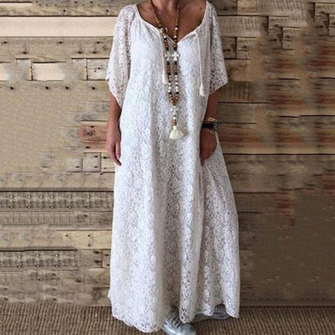 Bohemian Women's Lace V-neck Maxi Dresses