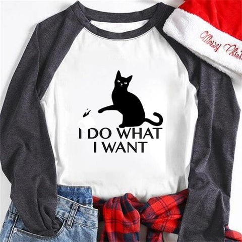 I Do What I Want Printed Christmas Holiday Autumn Women's Sweatshirts