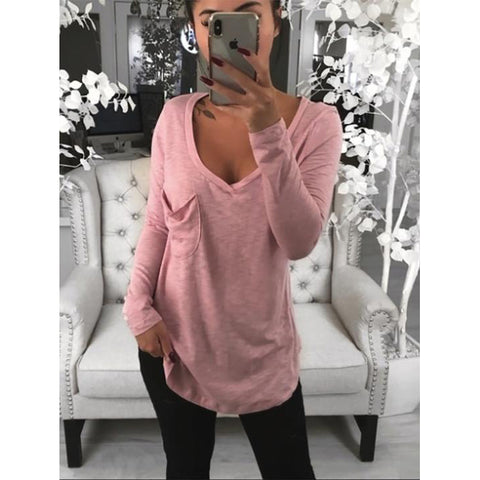 Plus Size Fashion V Neck Loose Long Sleeve Summer T-Shirt
