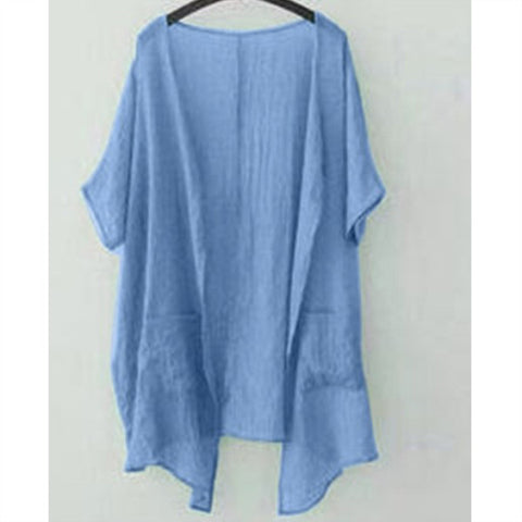 Casual Solid Color Loose Short Sleeve Pocket Plus Size Blouse