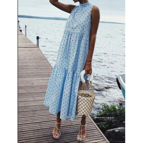 Polka Dot Pleated Bohemian Beachwear Maxi Dress