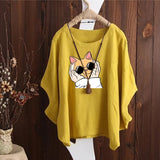 Garfield Cat Irregular Fashion Solid Short Sleeved Vintage Blouse