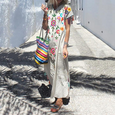 Embroidered Beach Floral Casual Maxi Dress