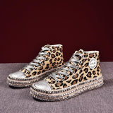 Leopard Rivet Embellished Women Fashion Sneakers
