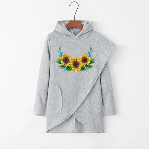 Fashion Sunflower Irregular Solid Pockets Casual Hoodies
