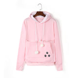 Plush Women Large Pocket Pet Bag Hoodie