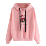 Bee Berry Loose Casual Printed Refill Hoodie