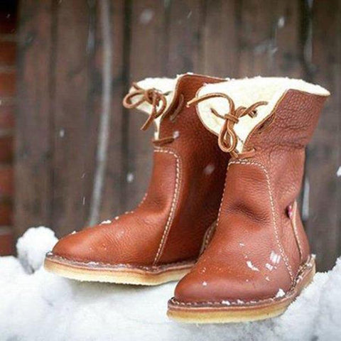 Womens Winter Warm Fur-Lined Ankle Snow Boots