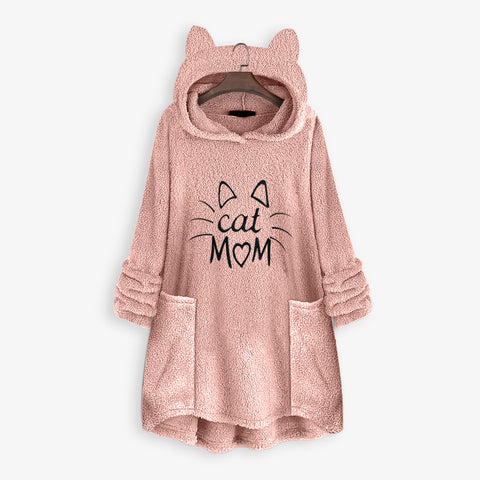 Cat Mom Winter Plus Size Women's Hoodie