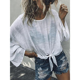 Fashion Tie-Up Round Neck Long Sleeves Shirt
