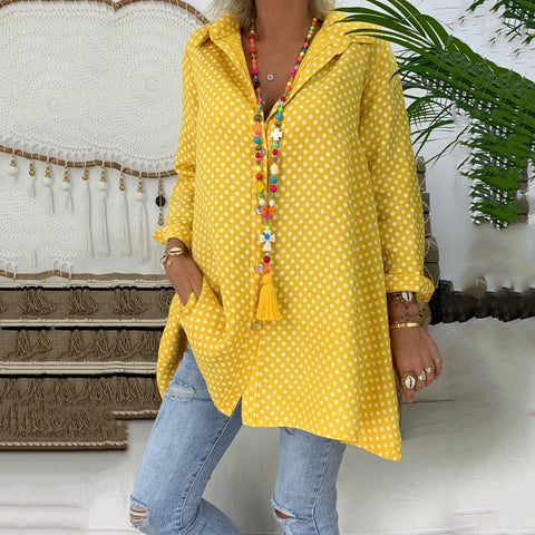 Spring/Summer Polka Dot Women Printed Plus Size Shirt