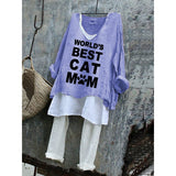 World's Best Cat Mom Summer Loose Plus Size T-Shirt Set