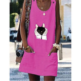 Cat Printed Women Dresses Shift Cotton-Blend Dresses