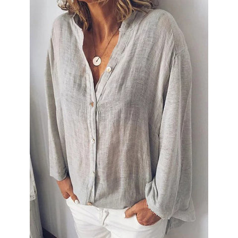 V-Neck Solid Color Loose Casual Plus Size  Shirt