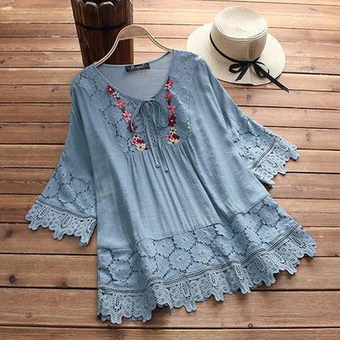 Women Casual Half Sleeve Embroidered Lace Tops