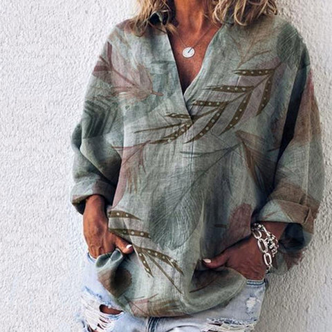 Plus Size V Neck Long Sleeve Casual Printed Shirts & Tops