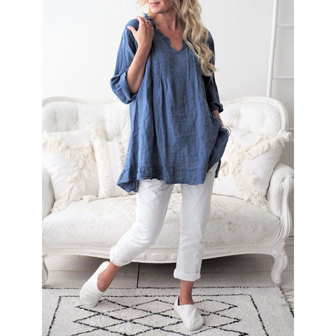 Casual Long Sleeve Flounce Patchwork Shirts & Tops