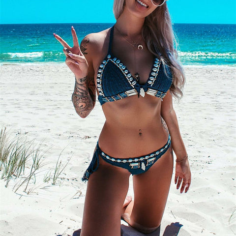 Summer Beach Boho Style Scalloped Crochet Bikini Set
