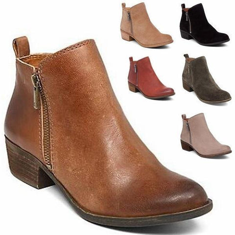 Vintage Leather Suede Chunky Heel Ankle Boot