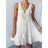 Fashionable Fringe Lacesleeveless Dress